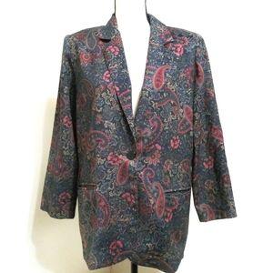 Vintage Liz Baker Paisley Blazer Size 8p